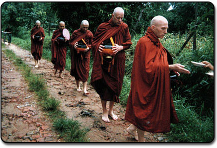 monks on the daily alms-round