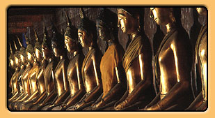 Row of seated Buddhas