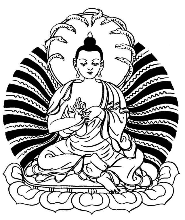 Buddhist Line Art: Buddha Image, Naga