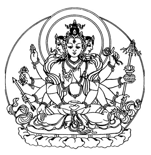 Buddhist Art Work Line Art Mahamantranudarini