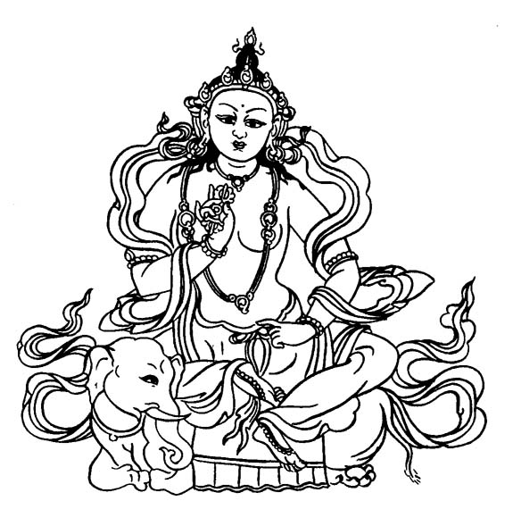 Buddhist Art Work: Line Art, Indra or Sakra