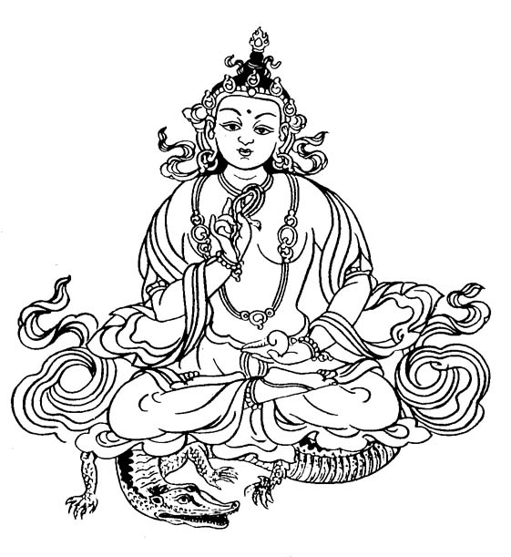 Buddhist art work line art varuna deva for Ancient india coloring pages