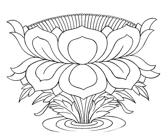 Buddhist Artwork Line Art Lotus Symbol 1