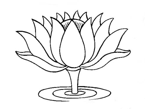 Line Drawing Of Lotus Flower : Buddhist artwork line art lotus symbol