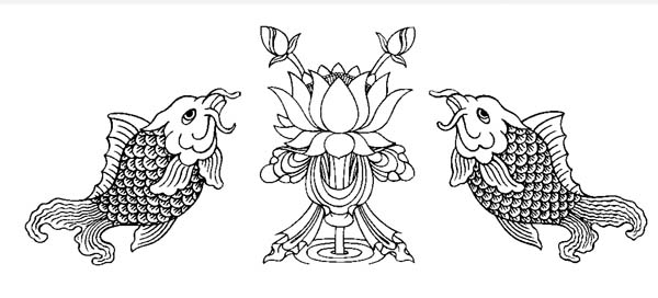 Buddhist Artwork Line Art Fish Lotus Symbols