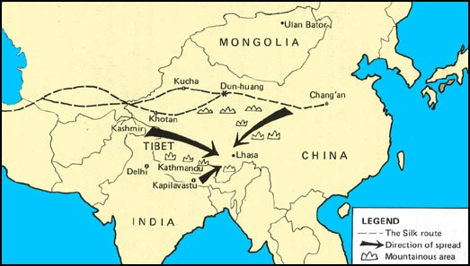 The Buddhist World Map Of Spread Of Buddhism To Tibet And Mongolia - Tibet in world map